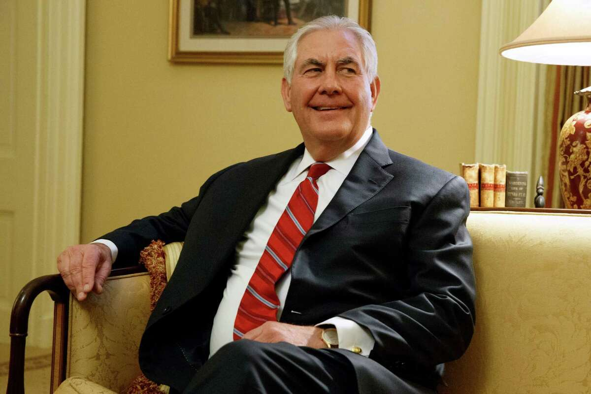 In this Jan. 4, 2017, file photo, Secretary of State-designate Rex Tillerson pauses during a meeting with Senate Majority Leader Mitch McConnell of Ky. on Capitol Hill in Washington. Friend of Russia and foe of sanctions in his corporate life, President-elect Donald Trump's nominee for secretary of state, Tillerson, is an unorthodox choice for a Republican White House. He may feel perfectly at home in Trump's iconoclastic administration.