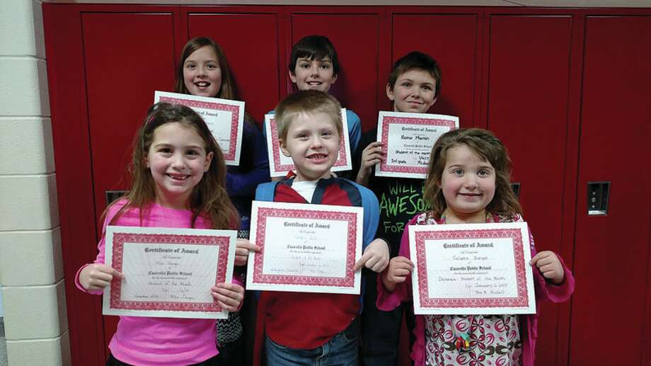Caseville School recently named their December Students of the Month. Elementary students acknowledged are, front row, Mia Yeager from Mrs. Geiger's first grade, Landon Volz, Kindergarten, and Valerie Bowers, from Mrs. Nicholl's first grade; back row, Abbigail Putman fourth grade, TJ Broaddus fifth grade, Reece Martin third grade. Missing from the photo is Amariah Fritz second grade. (Submitted photo)