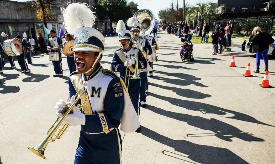 The Milby High School Band performs during the 22nd Annual MLK Grande Parade on Monday, Jan. 18, 2016, in Houston. ( Brett Coomer / Houston Chronicle ) Photo: Brett Coomer, Staff / © 2016 Houston Chronicle