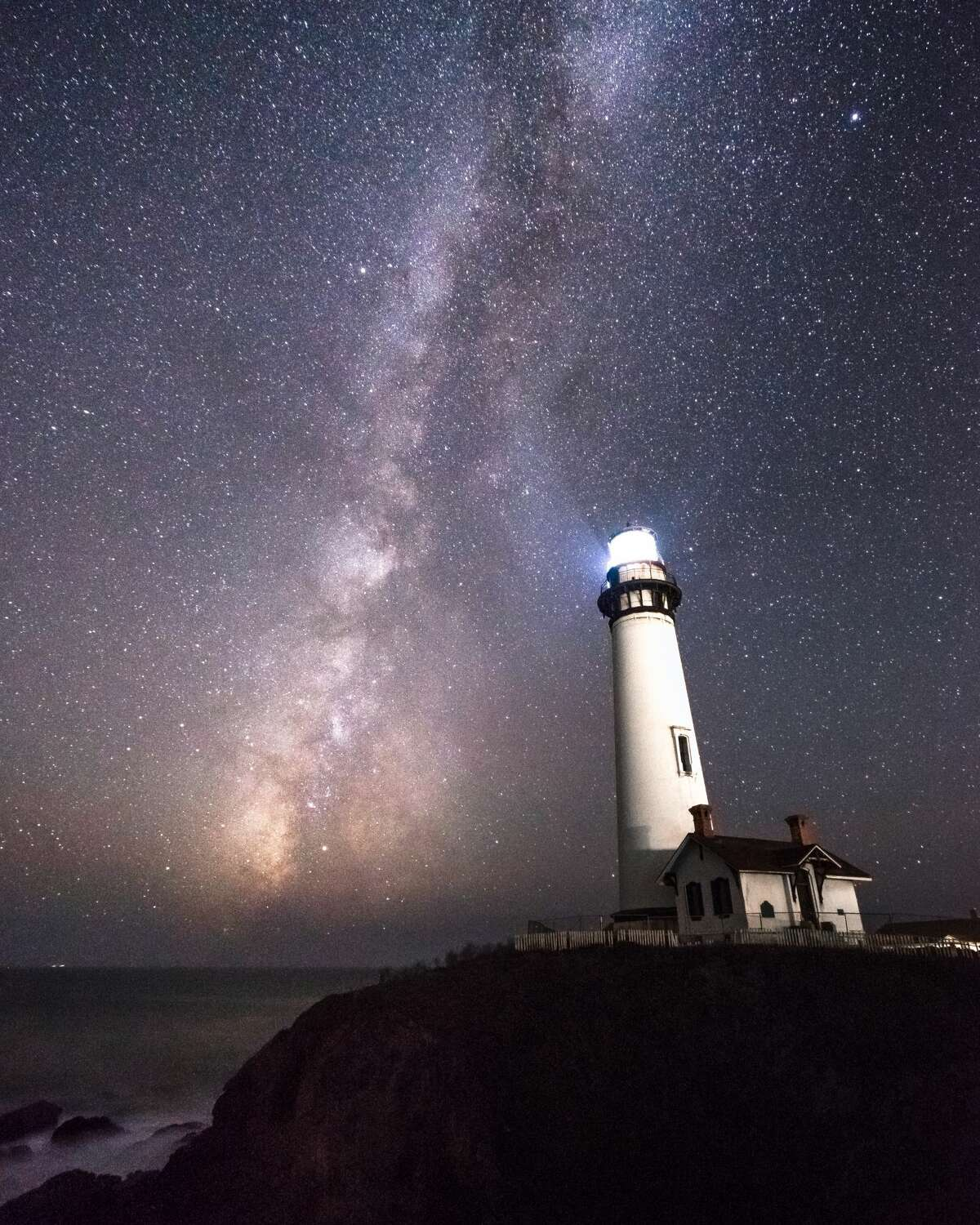 The Milky Way rising over Pigeon Point Lighthouse in Pescadero.