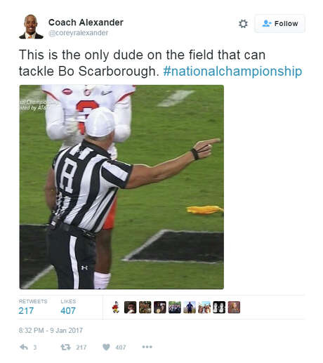 "@coreyralexander: ""This is the only dude on the field that can tack Bo Scarborough #nationalchampionship Photo: Twitter"