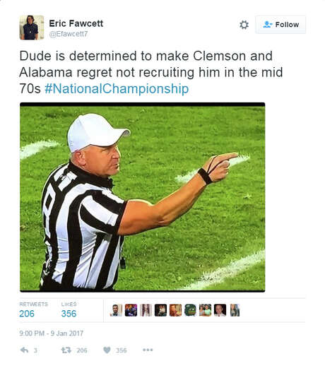 "@EFawcett7: ""Dude is determined to make Clemson and Alabama regret not recruiting him in the mid 70s #NationalChampionship Photo: Twitter"