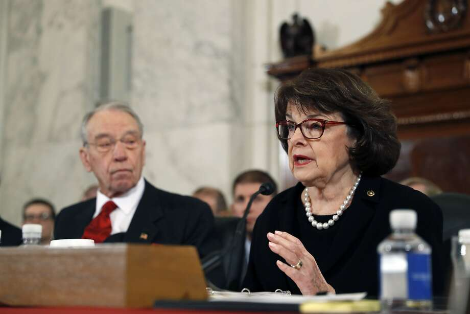 Senate Judiciary Committee Chairman Sen. Charles Grassley, R-Iowa listens at left, as the committee's ranking member, Sen. Dianne Feinstein, D-Calif. questions Attorney General-designate, Sen. Jeff Sessions, R-Ala. during Sessions confirmation hearing before the copmmittee, Tuesday, Jan. 10, 2017, on Capitol Hill in Washington.  Photo: Alex Brandon, Associated Press
