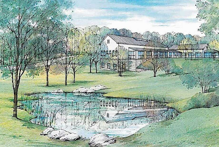This is an architect's drawing of the new Oxford Public Library on Great Oak Road. A groundbreaking for the library will be held on Wednesday, Jan. 18, 2017 Photo: Oxford Library Building Committee
