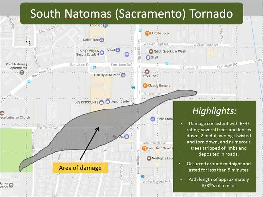 The National Weather Service released this image of the area hit by Wednesday's tornado.  Photo: National Weather Service