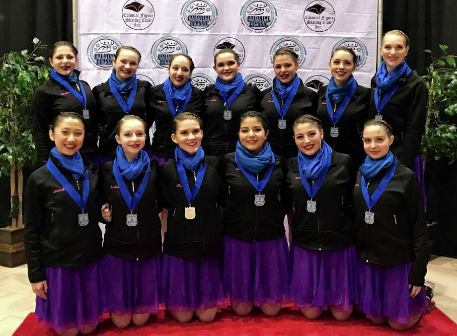 The Silver-medal winning Shadows. Back row left-to-right: Deanna Gladstone, Kara McLaughlin, Stephanie Tancs, Madeline Ciampa, Rachel Iannazzo, Vanessa Wynter, Olivia Linnartz. Front row left-to-right: Michelle Han, Isabella Osinovsky, Alyssa Fish, Natalie Pesantez, Danielle Nugent, Sarah Meyer. Photo: Contributed Photo / Darien News contributed