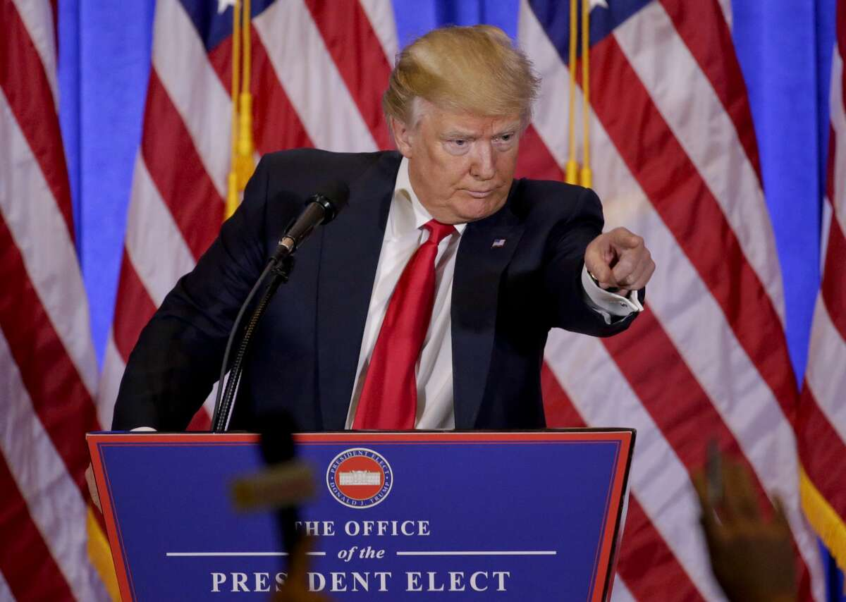 President-elect Donald Trump takes questions during a news conference, Wednesday, Jan. 11, 2017, in New York. The news conference was his first as President-elect. (AP Photo/Seth Wenig)