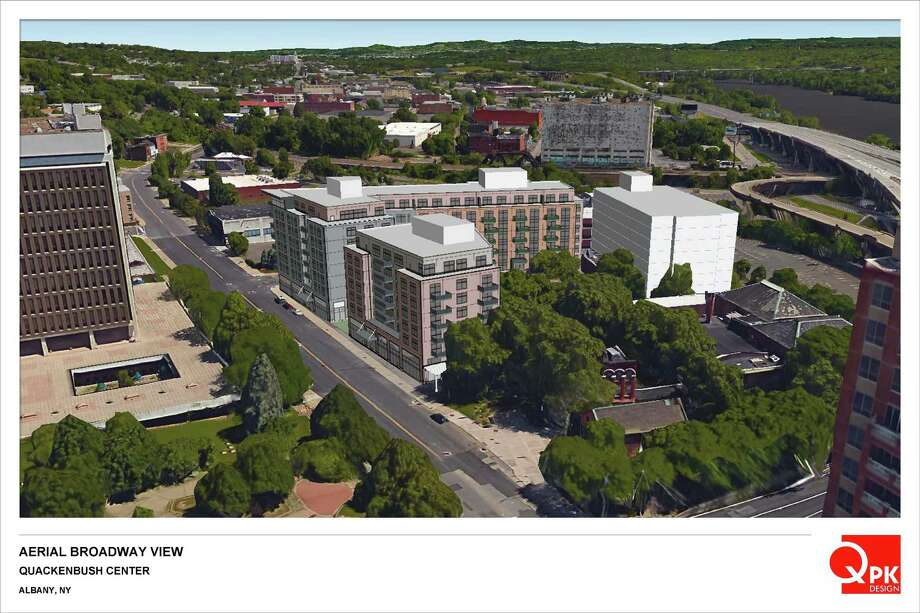 Syracuse-based Pioneer Cos. officials presented a plan to build three buildings – rising as high as nine stories – that would house retail, residential housing and a hotel near Quackenbush Square in Albany to city planners on Monday, Jan. 9, 2017. (QPK Design)