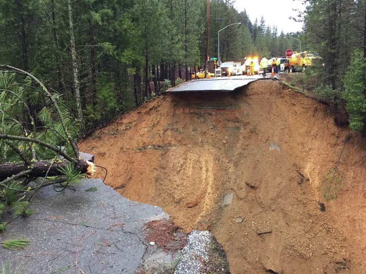 The roadway at Morton Road near the Alta exit of I-80 in Colfax swept away due to rains in Jan. 2017.