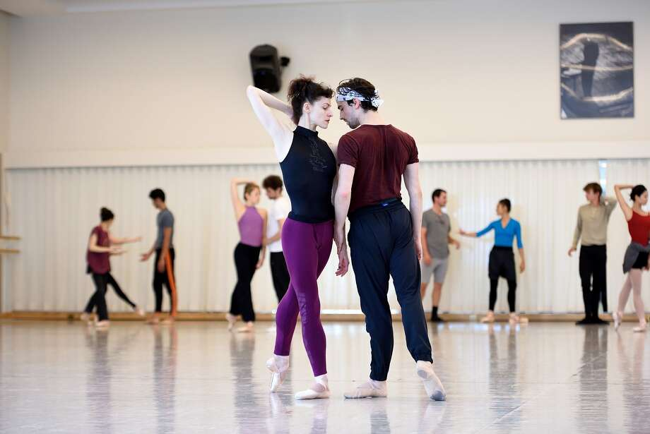 """Dancers Sofiane Sylve and Joseph Walsh rehearse """"Fragile Vessels,"""" which will open the S.F. Ballet's 2017 season. Bubeníček is overseeing the production with the help of his twin, Otto. Photo: Erik Tomasson"""