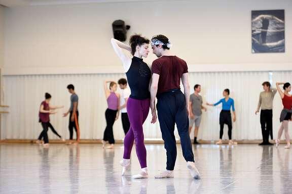 San Francisco Ballet principal dancers Sofiane Sylve and Joseph Walsh rehearse Jir� Buben�cek�s �Fragile Vessels,� which opens the Ballet�s 2017 season. Photo: Erik Tomasson.