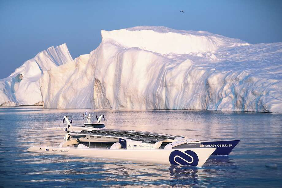 This computer image shows the Energy Observer boat, which is powered solely by renewable energies and hydrogen. It is the first self-sufficient boat only powered by emission-free energy. Photo: Associated Press