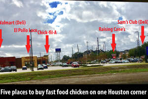 The intersection of Westpark and South Rice Ave. in Houston has five places to get chicken to go on one street corner.