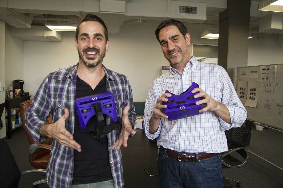 Founder and CEO Franklin Lyons (left) and Andrew Trickett co-founder of Merge with the Merge VR goggles, virtual reality goggles powered by your smartphone, at their offices in 2015. Merge VR received $10.1 million in venture capital funding in 2016. Photo: Alma E. Hernandez /For The Express-News / San Antonio Express-News