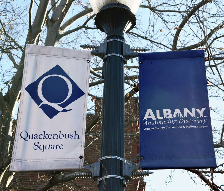Banners at Quackenbush Square on Broadway Wednesday Jan. 11, 2017 in Albany, NY.  (John Carl D'Annibale / Times Union) Photo: John Carl D'Annibale, Albany Times Union / 20039410A