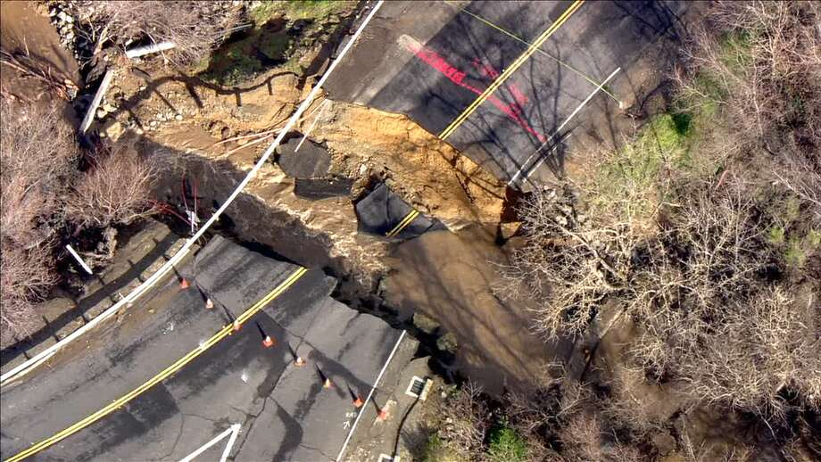 KTVU's helicopter captured this damage to Alhambra Valley Rd.  Photo: KTVU