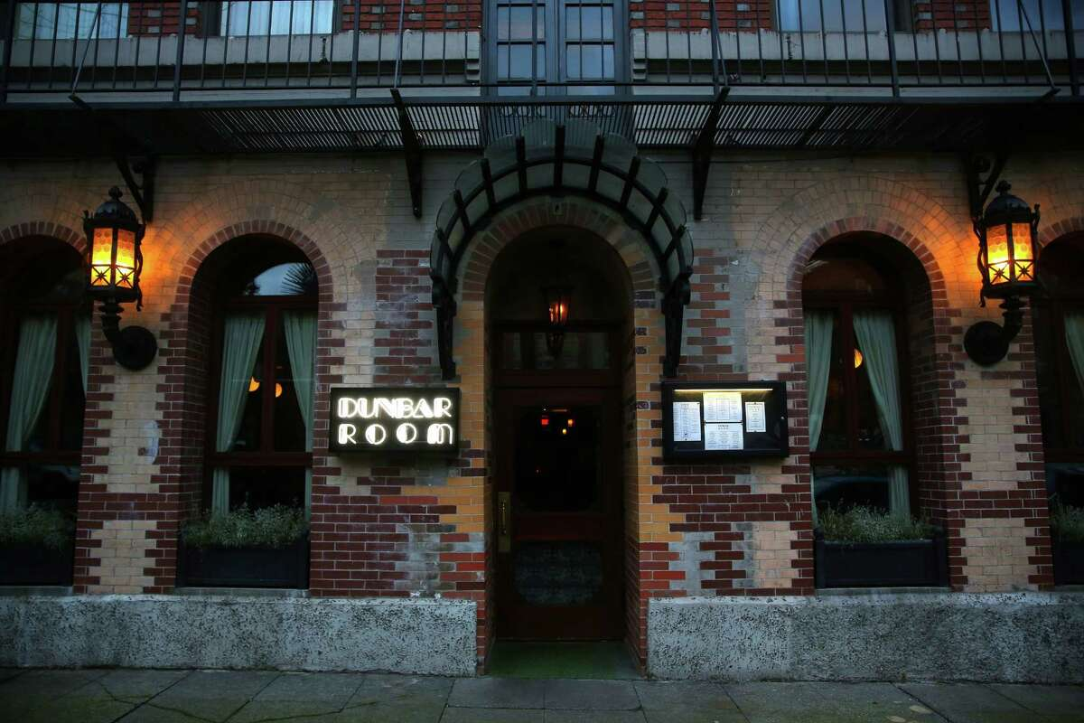 The exterior of the Dunbar Room, a restaurant and bar inside Hotel Sorrento on First Hill, Tuesday, Jan. 10, 2017. (Genna Martin, seattlepi.com)