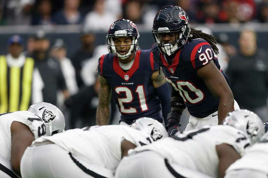 Jadeveon Clowney of the Texans lines up for a play during the first quarter of the AFC wild-card playoff game against the Oakland Raiders at NRG Stadium on Jan. 7, 2017 in Houston. Photo: Bob Levey /Getty Images / 2017 Getty Images