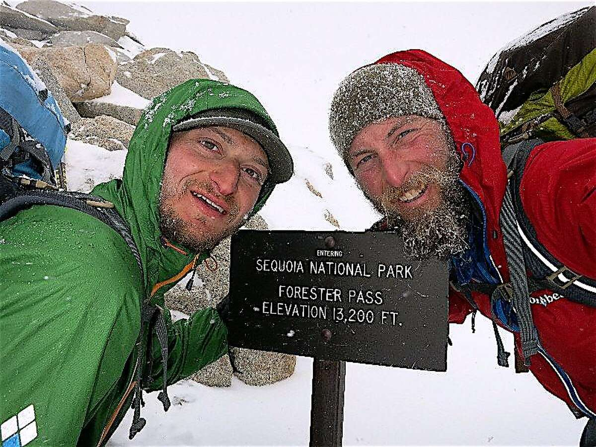 Justin Lichter, left, and Shawn Forry at 13,200 Forester Pass, the highest point on the Pacific Crest Trail -- Lichter and Forry became the first in history to hike the PCT from Canada to Mexico in winter, and were elected into the California Outdoors Hall of Fame