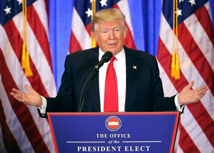 NEW YORK, NY - JANUARY 11:  President-elect Donald Trump speaks at a news cenference at Trump Tower  on January 11, 2017 in New York City. This is Trump's first official news conference since the November elections.  (Photo by Spencer Platt/Getty Images) *** BESTPIX ***