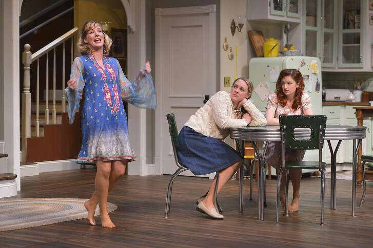 """From left: Meg (Sarah Moser) gets a reaction from her sisters Lenny (Therese Plaehn)�and Babe�(Lizzie O'Hara) in TheatreWorks' """"Crimes of the Heart."""""""