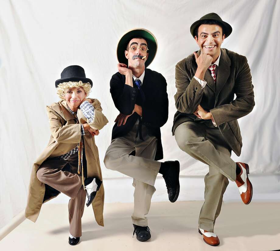 From left: Patty Reinhart as Gino, Andrew Ceglio as Samovar and Mohamed Ismail as Carlo in Palo Alto Players' �A Day in Hollywood / A Night in the Ukraine.� Photo: Joyce Goldschmid, Palo Alto Players