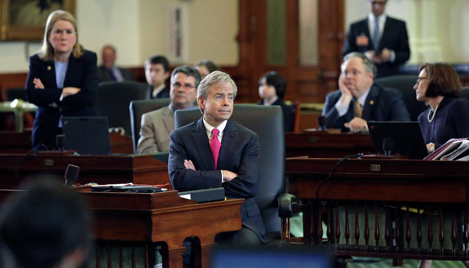 Senator Don Huffines (R-Dallas) listens to motions in the Senate to confirm nominees to the UT Board of Regents before a vote in the Senate on March 11, 2015. Photo: Tom Reel, San Antonio Express-News