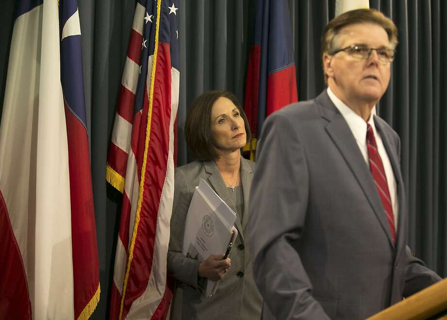 Texas Lt. Gov. Dan Patrick and Sen. Lois Kolkhorst introduced Senate Bill 6, known as the Texas Privacy Act. It requires transgender Texans to use the bathrooms corresponding to the genders on their birth certificates, but enforcement is unclear. Photo: Ralph Barrera /Associated Press / Austin American-Statesman