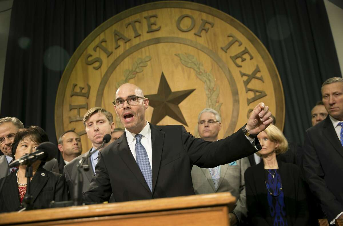 State Rep. Dennis Bonnen, R-Angleton, speaks about border security at a news conference at the Capitol in Austin, Texas, on Wednesday Jan. 11, 2017. ( Jay Janner/Austin American-Statesman via AP)