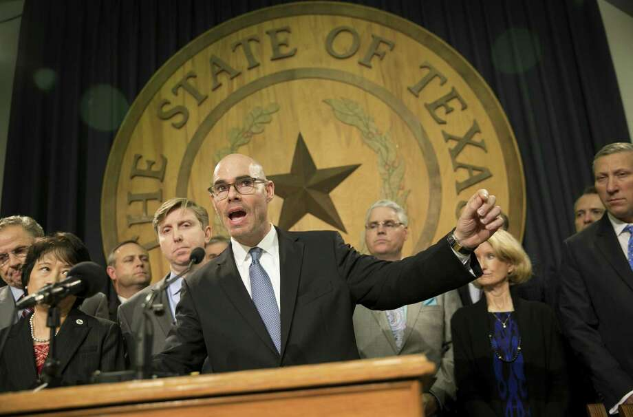 State Rep. Dennis Bonnen, R-Angleton, speaks about border security at a news conference at the Capitol in Austin, Texas, on Wednesday Jan. 11, 2017. ( Jay Janner/Austin American-Statesman via AP) Photo: Jay Janner, MBO / Associated Press / Austin American-Statesman