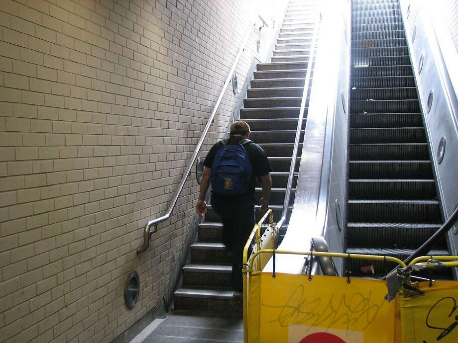 The south escalator at Muni's Church Street station. A male body was found near the station on the trackway Wednesday, a spokesman for SFMTA said. Photo: Jonathan Curiel