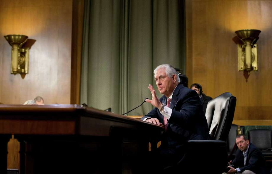 Secretary of State-designate Rex Tillerson testifies on Capitol Hill in Washington, Wednesday, Jan. 11, 2017, at his confirmation hearing before the  Senate Foreign Relations Committee.  (AP Photo/Steve Helber) Photo: Steve Helber, STF / Copyright 2017 The Associated Press. All rights reserved.