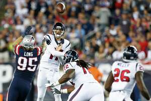 Quarterback Brock Osweiler threw for 196 yards with one interception in the Texans' shutout loss to the Patriots in September.