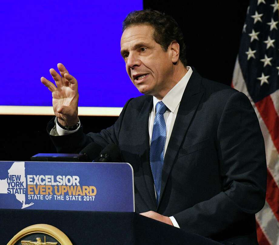 Gov. Andrew Cuomo delivers his fifth of six regional State of the State addresses at the University at Albany Wednesday Jan. 11, 2017 in Albany, NY.  (John Carl D'Annibale / Times Union) Photo: John Carl D'Annibale / 20039336A