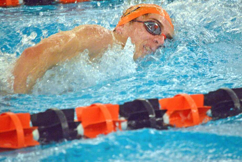 Edwardsville's Brian Baggette competes in the 500-yard freestyle last Saturday at the third annual Iron Invite at Normal Community High School.