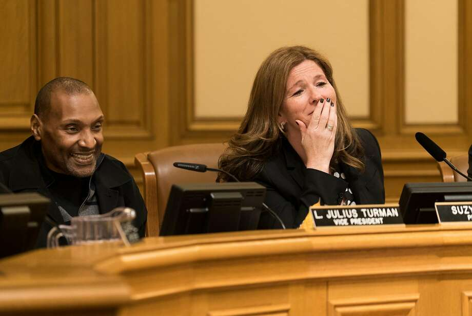 SFPD Commission President Suzy Loftus reacts to her mother Maureen Roche's public comment at City Hall in San Francisco on Wednesday, Jan. 11, 2016. Suzy Loftus will run against District Attorney George Gascón next year. Photo: James Tensuan, Special To The Chronicle