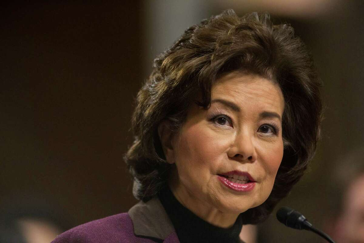 Transportation Secretary-designate Elaine Chao testifies on Capitol Hill in Washington, Wednesday, Jan. 11, 2017, at her confirmation hearing before the Senate Commerce, Science, and Transportation Committee. A spokeswoman for the agency said Transportation Secretary Elaine Chao will sign a previously arranged grant agreement that will give Caltrain the federal money over the next five years.