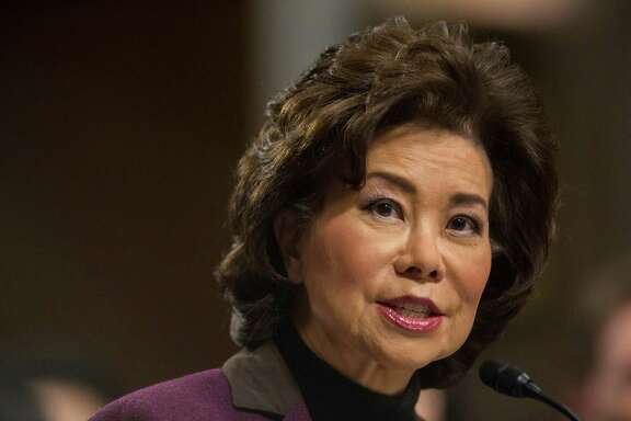 Transportation Secretary-designate Elaine Chao testifies on Capitol Hill in Washington, Wednesday, Jan. 11, 2017, at her confirmation hearing before the Senate Commerce, Science, and Transportation Committee.  (AP Photo/Zach Gibson)