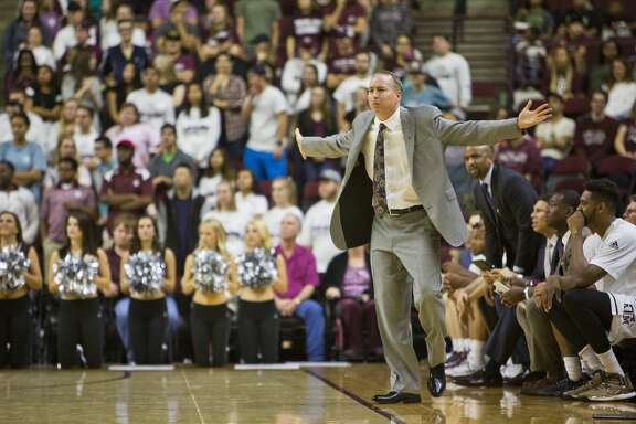Texas A&M coach Billy Kennedy gestures during the team's NCAA college basketball game against LSU on Wednesday, Jan. 11, 2017, in College Station, Texas. (Timothy Hurst/College Station Eagle via AP)