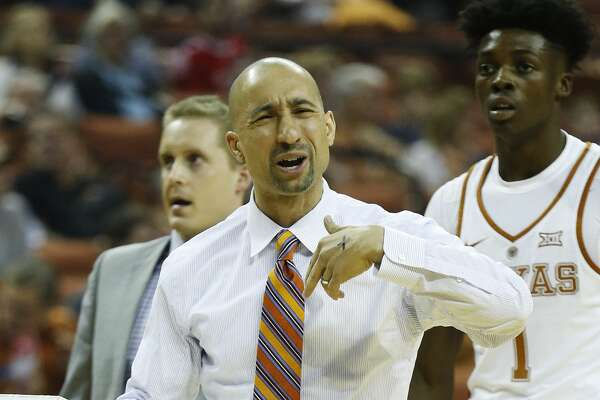 Texas head coach Shaka Smart reacts during the game against TCU at the Frank Irwin Center in Austin on Wednesday, Jan. 11, 2017. (Kin Man Hui/San Antonio Express-News)