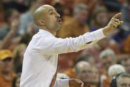 Texas head coach Shaka Smart directs his team during the game against TCU at the Frank Irwin Center in Austin on Wednesday, Jan. 11, 2017. (Kin Man Hui/San Antonio Express-News)