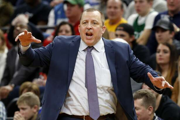 Minnesota Timberwolves head coach Tom Thibodeau yells instructions to his players during the second half of an NBA basketball game against the Houston Rockets Wednesday, Jan. 11, 2017, in Minneapolis. The Timberwolves won 119-105. (AP Photo/Jim Mone)