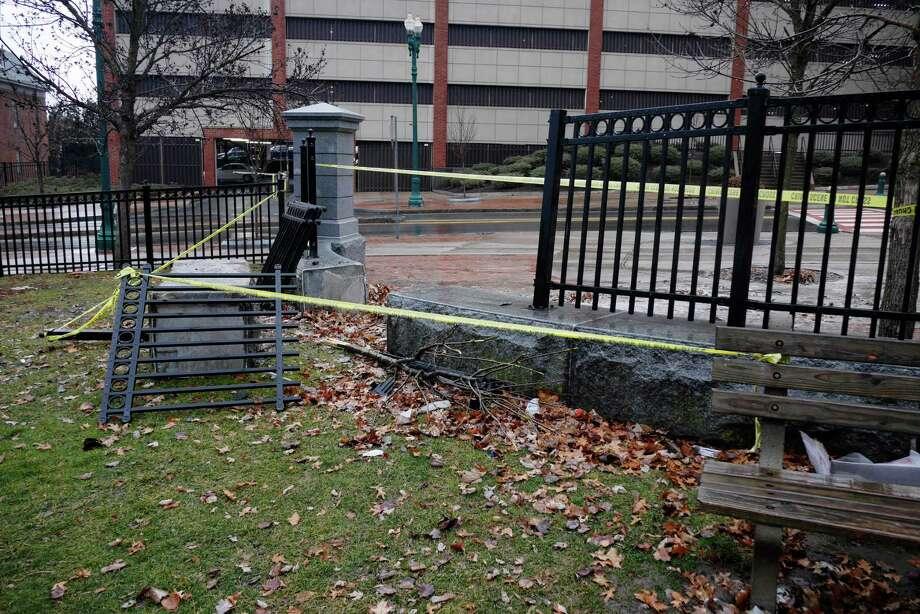 A view of the scene at Veterans Park where a car crash took place, seen here on Thursday, Jan. 12, 2017, in Schenectady, N.Y.     (Paul Buckowski / Times Union) Photo: PAUL BUCKOWSKI / 20039422A