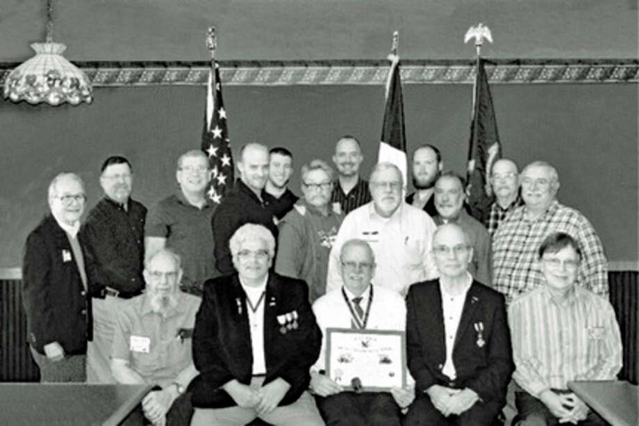 The Sons of the American Revolution recently launched a new chapter.  In the front row are  Norvil Brown, treasurer (Stanwood); Mike Huey, genealogist (Lakeview); Dave Anderson, president (Stanwood); Dave Brant, vice president (Shepherd); Bernie Grosskopf, secretary (Riverdale). In the back are Richard Santer (Big Rapids); Don Rothenberger (Mecosta); Ward Anderson (St. Charles); Jeff Scarpelli (Stanwood); Kyle Anderson (St. Charles); Jack Neil (Mount Pleasant); Troy Henrie (Shepherd); James Nedela (Mount Pleasant); Dan Tincknell (Clare); Jack Ferchau (Freeland); Ed Laidlaw (Lake), Edgar Kiser (Clare). Members not pictured include Jim Perkins (Blanchard); Dennis Zeiss (Midland); Eric Anderson (St. Charles); Rollin Yeakle (Midland); Larry Neeper (Lake); Randall and Ryan Calkins (Midland).
