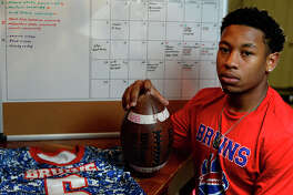With national signing day approaching, West Brook running back Joel Denley is still weighing his options.  Photo taken Tuesday 1/10/17 Ryan Pelham/The Enterprise