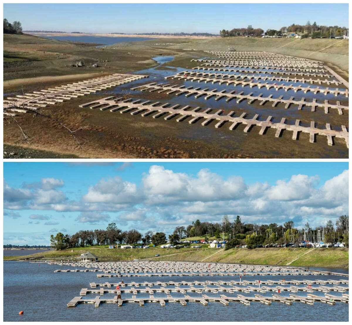 Folsom Lake: Before and after the Jan. 10, 2017 storm Top: A view of Folsom Lake on Dec. 31, 2015. California's ninth-largest reservoir outside Sacramento reached its lowest levels in Nov. 2015. Bottom: Due to the recent rain, water levels have increased at Folsom Lake Marina, one of the largest inland marinas in California, located at Browns Ravine Cove on the south shore of Folsom Lake, January 11, 2017.