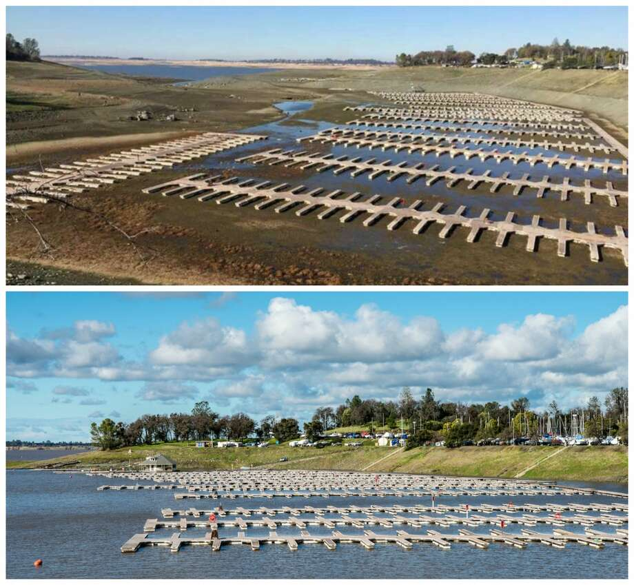 Folsom Lake: Before and after the January 2017 storm Top: A view of Folsom Lake on Dec. 31, 2015. California's ninth-largest reservoir outside Sacramento reached its lowest levels in Nov. 2015. Bottom: Due to the recent rain, water levels have increased at Folsom Lake Marina, one of the largest inland marinas in California, located at Browns Ravine Cove on the south shore of Folsom Lake, January 11, 2017. Photo: Top: Greg Tuppan. Bottom: Florence Low/California DWR.