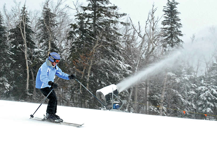 A skier enjoys the fresh snow at Gore Mt. in North Creek, NY on December 11, 2009. Photo: LORI VAN BUREN, Times Union