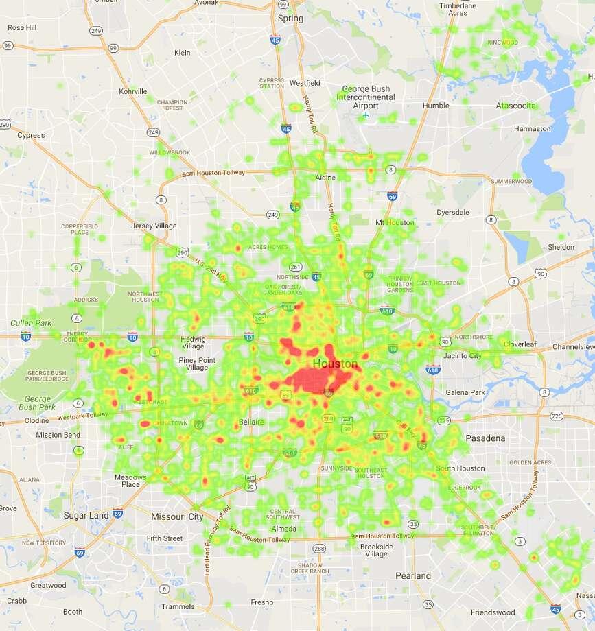 Houston pothole cases - past 12 months