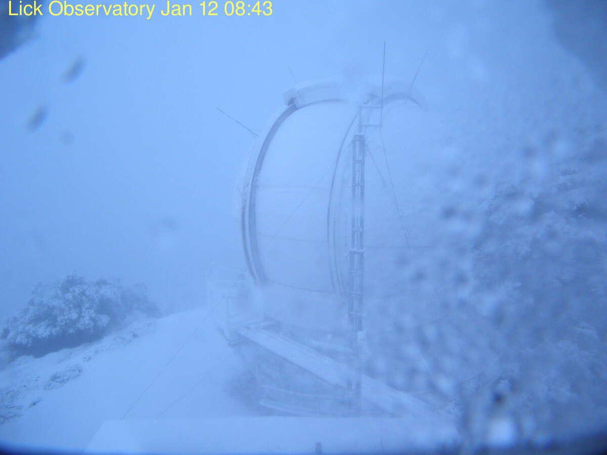 Snow fell on the Lick Observatory on Mt. Hamilton early Thursday morning, January 12, 2017.